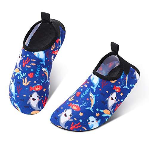SOSPIRO Scarpe da Acqua Bambini Scarpe da Mare Bambino Ragazze Ragazzi Antiscivolo ad Asciugatura Rapida Scarpe a Piedi Nudi Il Mondo Sottomarino Nuoto Scarpe per Sportive Acquatici Nuotata(26/27 EU)