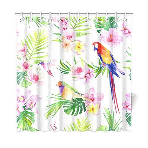 N\A Home Decor Kid Stoff Duschvorhang Papagei Bunte Wing Fether Mode Polyester Stoff wasserdichte Bad Vorhanghalter für Badezimmer 72 * 72 Zoll (183 x 183 cm) mit Haken