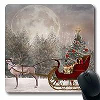マウスパッドフロストそりクリスマススリットレディゴー冬の風景ボール休日サンタフォレスト自然トラベルボックス長方形7.9 X 9.5インチ滑り止めゲーミングマウスパッドラバー長方形マット