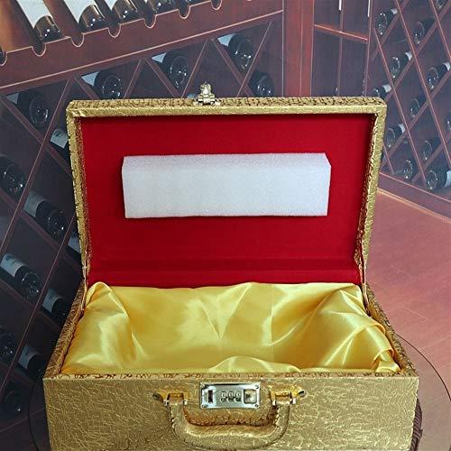 A&D Keramisch, houten vat, wijnfles, Home Tiger Liquor Rode Wijn Medicinale Wijn Lege Glas Fles Dier Zodiac Craft Glas Wijnfles (Kleur : Een transparante tijger+gouden koffer)