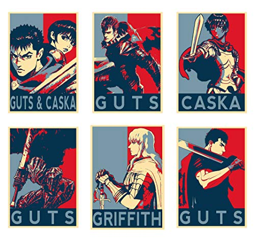 Wall Art Berserk Characters Guts Caska Griffith Anime Poster Prints Set of 6 Size A4 (21cm x 29cm) Unframed GREAT GIFT