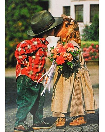 alles-meine.de GmbH Puzzle 1500 Teile - Mädchen & Junge - mit Blumenstrauß / erster Kuß  - Foto - Bauernhof - Trachten / Sommerfest - Kindermotiv - erste Liebe - Vogelhochzeit ..
