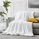 Hansleep Shaggy Faux Fur Blanket, Ultra Soft Plush Fuzzy Throw Blanket with Reversible Warm Sherpa - Sofa Couch Bed Decoration for All Season Use (White, Queen 90x90)