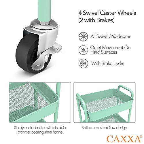CAXXA 3-Tier Rolling Metal Storage Organizer - Mobile Utility Cart, Kitchen Cart with Caster Wheels (Aqua)