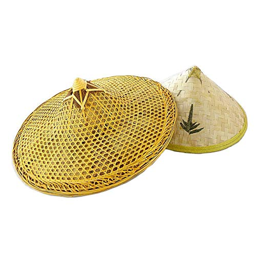 SUNNYHILL Pack of 2 Chinese Handmade Natural Bamboo Fishing Braid Hats Clear Oil and Green Leaf Hat