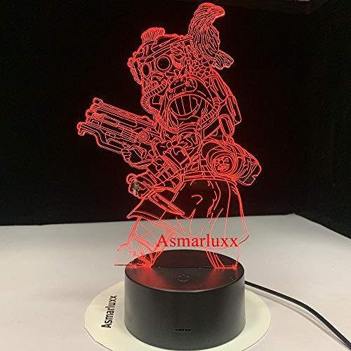 Luz de ilusión 3D Luz de noche LED Rastreador tecnológico Juego Hunter Goliath Whisper Half Bat Bloodhound 7 colores Decoración Usb como regalo de decoración de ventilador