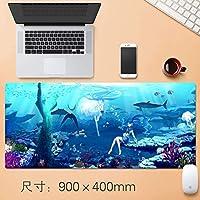 拡張大TtのEsportsも初音ミク版ゲーミングマウスパッド日本のかわいい漫画のアニメのノートパソコンのマウスマットで縫製EDGE基地すべり止めのゴム、防水、アンダーウォーターワールド90 * 40センチメートル (サイズ : Thickness: 3mm)