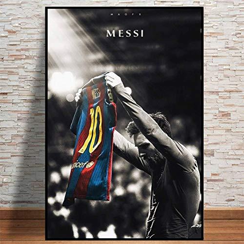 tzxdbh Cuadro sobre Lienzo Vista de Ventana Futbolista Lionel Messi Cuadro Retro Estampado Paisaje en pie Marco de Madera, Color 30x45cm (con Marco)