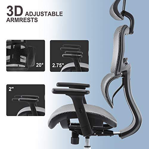 SMUGDESK High Back Office Chair Mesh Executive Chair Adjustable 3D Armrest/Headrest Rotating Chair