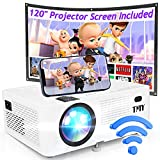 TMY WiFi Projector with 120″ Screen, [200 ANSI - Over 8000 Lux Brightness], 1080P Full HD Enhanced Projector, Portable Projector Compatible with TV Stick HDMI USB for Home Cinema & Outdoor Movies.