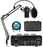 MXL 990 Cardioid Condenser Microphone (Black) Bundle with Behringer U-PHORIA UM2 USB Audio Interface for Windows and Mac, Blucoil Boom Arm Plus Pop Filter, and 10-FT Balanced XLR Cable