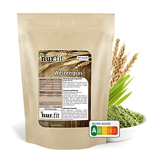 nur.fit Weizengras Pulver 1kg - reines Weizengras Green-Smoothie-Pulver aus schonender Herstellung ohne Zusatzstoffe – Weizengras in Rohkostqualität mit Vitaminen & Mineralstoffen