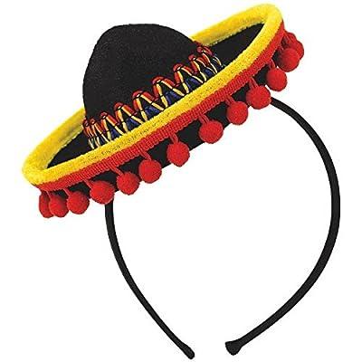 amscan 391400 Cinco De Mayo Fabric Sombrero Headband with Ball Fringe