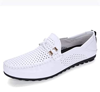HaiNing Zheng Summer Driving Loafer for Men Moccasins Boat Shoes Slip on Synthetic Leather Breathable Perforated Stitching (Color : White, Size : 8 UK)