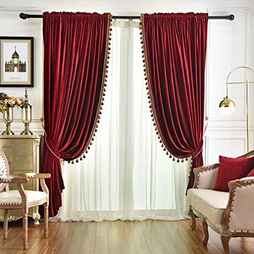 Queen's House Luxury Burgundy Window Curtains Pom Pom Velvet Blackout Drapes Panels for Living Room 52×96 Inches-2 Panels