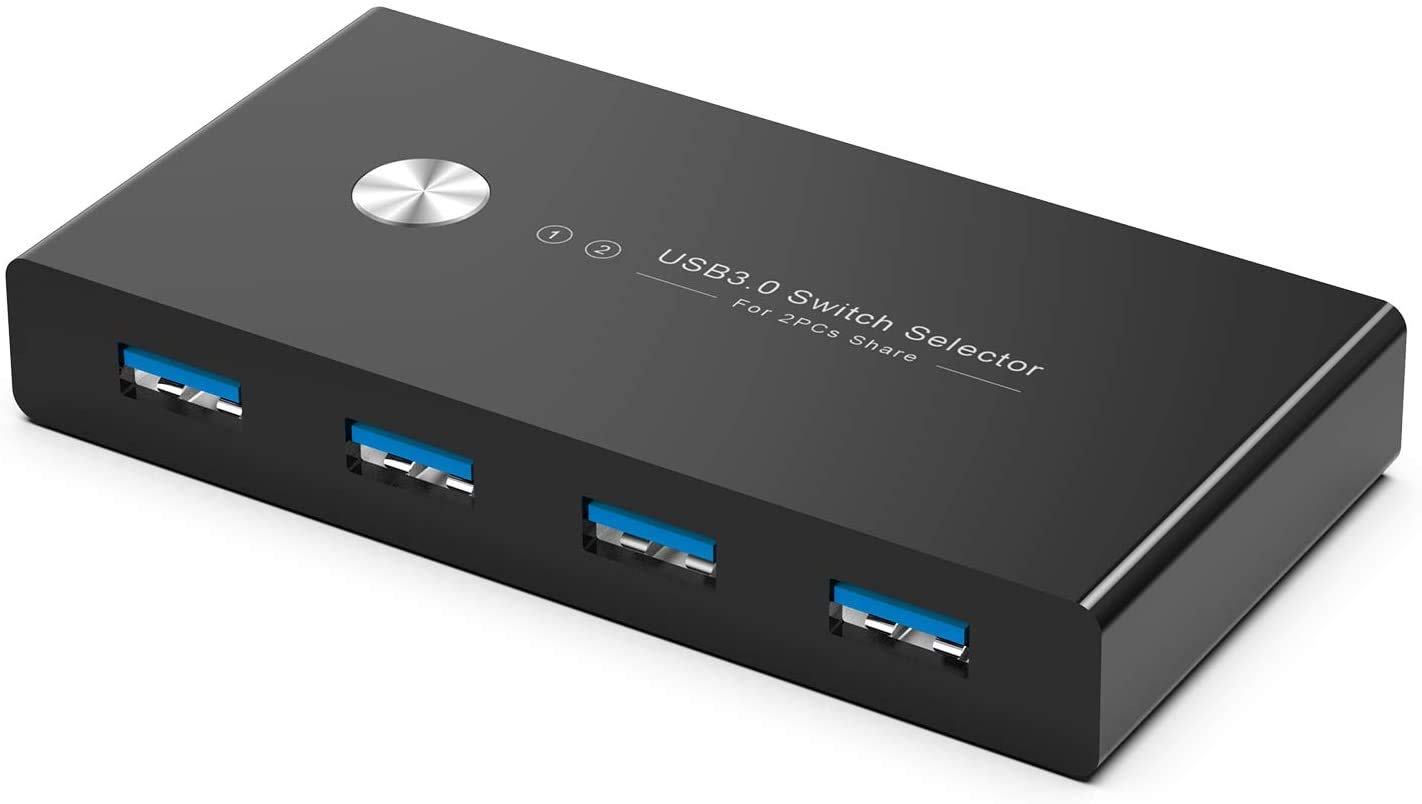 Rybozen 4 Puertos USB 3.0 Switch, Conmutador KVM USB 2 Entradas y ...