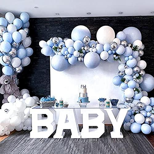 AivaToba - Kit de arco de globos azules pastel para decoración de baby shower, globos blancos plateados para bautizo, decoración de niño, fiesta de cumpleaños, boda, graduación, niño