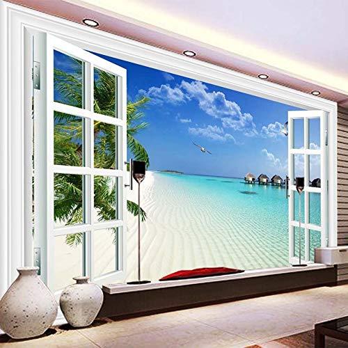 WSKBH Wandbildtapete,Mediterrane Landschaft Fenster Fotografie 3D Fototapete Wandbilder Tv Hintergrund Wand Tuch Hd Drucken Wohnzimmer Sofa Home Decor Wand Malen,60 cm (H) X 80 cm (W)