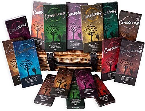 Conscious Chocolate - Luxury Gift Hamper - 16 x 60g Handmade, Vegan, Organic & Dairy Free Chocolate Bars - Peruvian Cacao - Chocolate Gift Selection with Basket