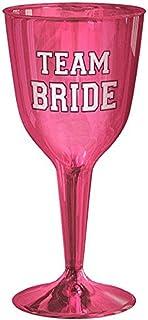 Amscan Bachelorette Team Bride 10 oz. Plastic Wine Glasses