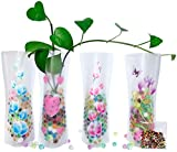 HGFF kikafok Collapsible & Expandable Plastic Vase 8 PCS and Water Beads Reusable - for Travel, Vacations, Camping, Weddings, Table Decor