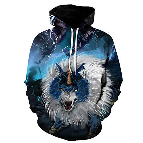 WLZQ Otoño E Invierno Suéter para Hombre Moda para Hombre Suéter con Estampado De Lobo Suéter con Capucha para Hombre Sudadera para Hombre Jersey Camiseta De Manga Larga
