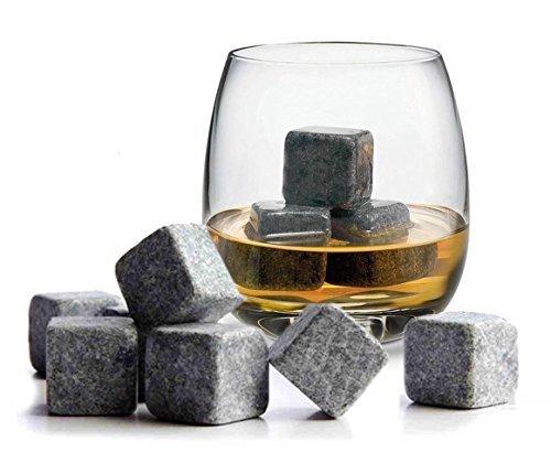 Gearmax Set di 9 Pietre Whisky Chilling Rocks 100% Pure Soapstone, Cubetti Rinfrescanti per Whisky, con di Velluto Nero in Carrying Pouch