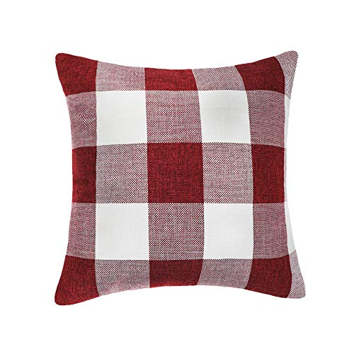 4TH Emotion Red White Christmas Buffalo Checkers Plaids Throw Pillow Cover Cushion Case Cotton Linen Home Decorations for Sofa 18 x 18 Inch