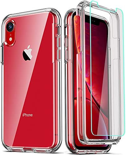 COOLQO Compatible for iPhone XR Case with 2 x Tempered Glass Screen Protector Clear 360 Full product image