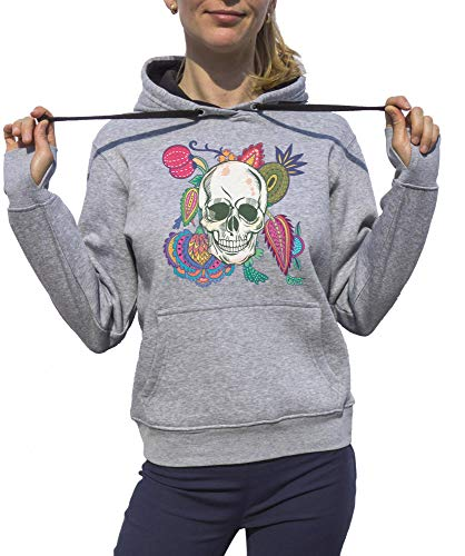 Fashion Skull Flowered Heart Hoodies zwart