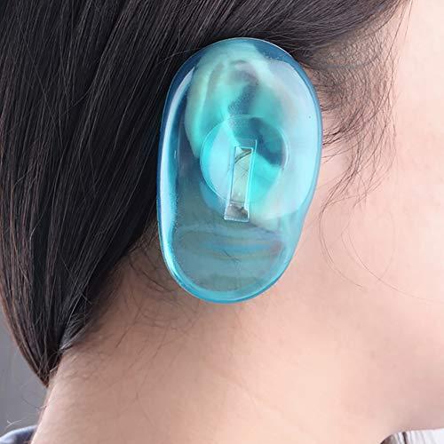 Xiton couverture d'oreille en silicone 1 paire Protecteur d'oreilles bouclier étanche Anti plastique Garde oreille Coloration cheveux colorant Earmuffs Salon ou utilisation à domicile (Bleu)