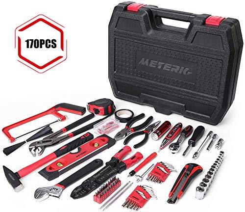 Haushalt Werkzeugkoffer, Meterk Haushaltskoffer 170-teilig Werkzeugkasten ideal für den Haushalt oder die Garage, Werkzeugset Ideal Weihnachtsgeschenk für Bastler Handwerker