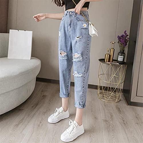 Woovitpl Pantalones Vaqueros Rasgados Bordado Daisy Pantalones Sueltos recortados para Mujer 2021 Pantalones de Pierna Recta de Cintura Alta Finos de Verano Tendencia Trousers XXXL