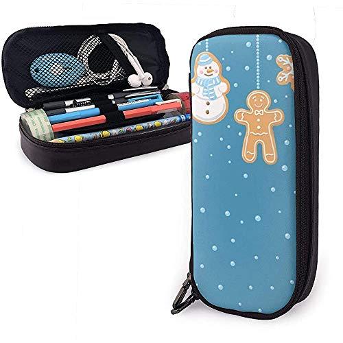 Weihnachten Schneemann und Keks PU Ledertasche Aufbewahrungstaschen Student Pencil Stationery Bag Multifunktionstasche