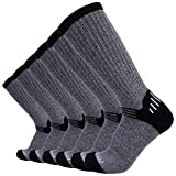 Enerwear 6P Pack Men's Merino Wool Blended Outdoor Walking Socks (US 10-13, Light Grey)