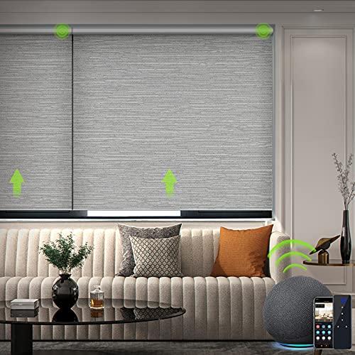 Yoolax Jacquard Elektrisches Rollo Alexa WiFi Smart Rolladen mit Akkumotor und Fernbedienung 100% Verdunkelung nach maß für Home Office, Schnurlos(Jacquard Grau)