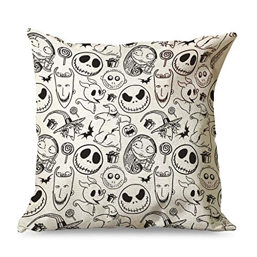 Xuanwuyi Jack Face Nightmare Before Christmas Halloween Pillowcase 16x16 18x18 20x20 Inch Home Square White Simple Style white 45x45cm