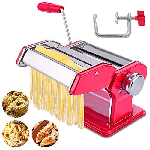 JOMUGY Máquina de pasta y pasta - Máquina para hacer fideos de rodillo de pasta, color rojo