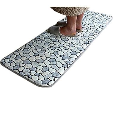 Anti-Fatigue Comfort Kitchen Floor Mats Absorbent Carpets for Bedrooms Bathroom Rugs Washable Entrance Doormats 15 x47  Inch (grey)