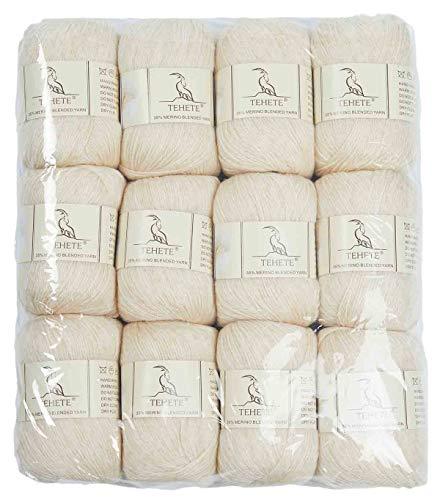 TEHETE Wolle zum Stricken und häkeln 35% Merinowolle Gran für Handstrickgarn, 12 Bälle x 50g, 3 fädig, weich und leicht-Beige