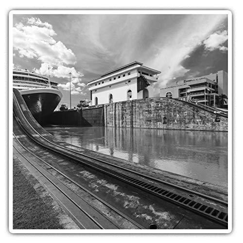 2 pegatinas cuadradas de vinilo de 7,5 cm – Panamá Canal Locks Boat 39447