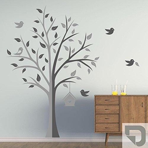 DESIGNSCAPE® Wandtattoo Kreativer Baum | Baum mit Vögel und Vogelhäuschen zweifarbig 122 x 120 cm (Breite x Höhe) Farbe 1: grau DW804175-S-F6