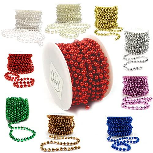 Sepkina Catena di perle decorative, catena di perle, per matrimonio, albero di Natale, ghirlanda di perle, prezzo di base 1€/M (rosso, 8)