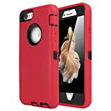 AICase iPhone 6 Case, iPhone 6S Case [Heavy Duty] Built-in Screen Protector Tough 3 in 1 Rugged Shorkproof Cover for Apple iPhone 6/6S (Black/Red)