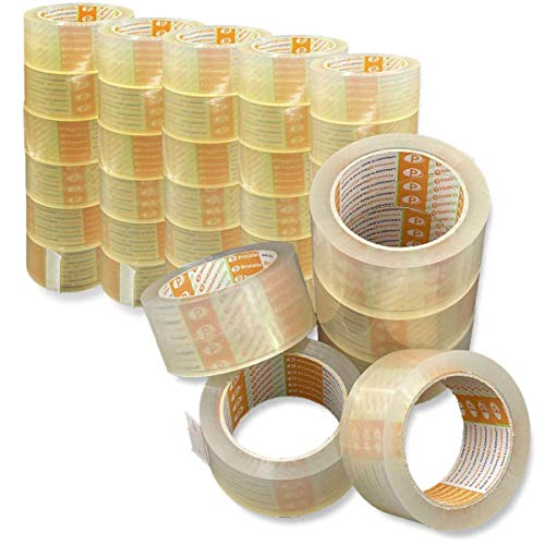 Printation 36er Set 50mm Packband transparent - klebestarkes, reißfestes und geräuscharmes Paketband für Päckchen, Pakete u. Versandschachteln - 36 Rollen Klebeband je 66 m - strong, leise abrollend