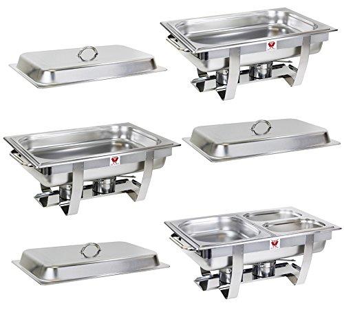 Beeketal 3er Chafing Dish Set 'BCD-3' Profi Gastro Speisewärmer Set aus Edelstahl - Lieferumfang: 3x Grundgestell, 3x Wasserbecken, 3x Deckel, 6x Brennpaste Behälter, 5x Gastronorm Behälter