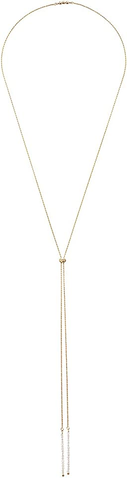 Dee Berkley - Bolo Convertible Necklace Sterling Silver 14KT Gold Overlay with Coated Quartz