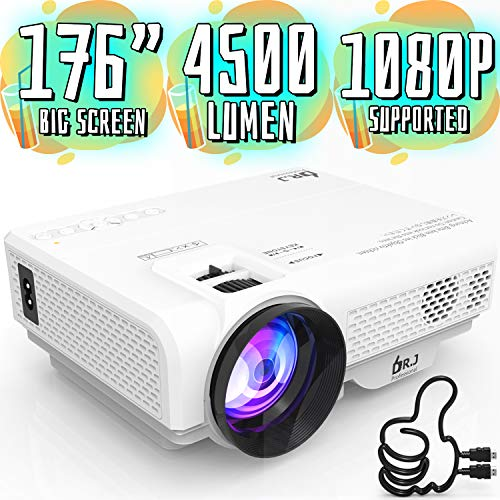 4500Lumens Portable Projector for Home Theater Entertainment, Full HD 1080P Supported Mini Projector HDMI AV USB Sound Bar Supported