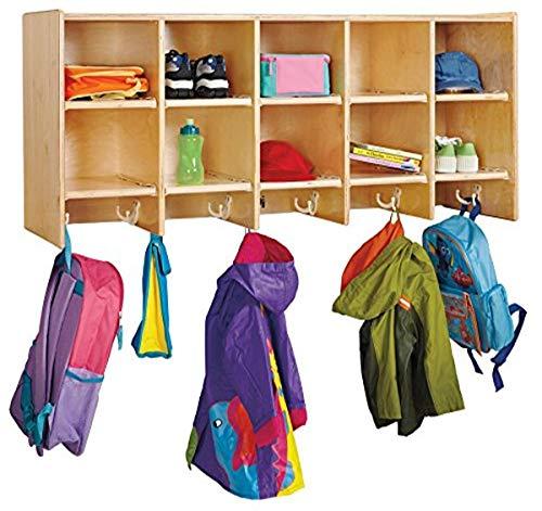 Jonti-Craft 0770JC 10 Section Wall Mount Coat Locker Without Bins