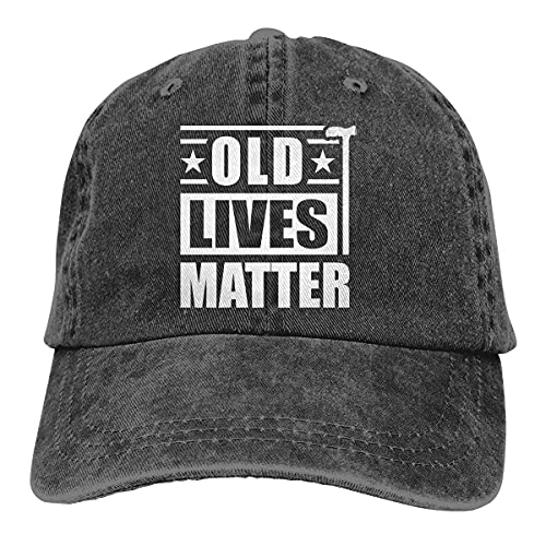 Funny Birthday Gifts Baseball Cap for 50th 60th 70th 80th Men Women, Old Lives Matter, Vintage Adjustable Washed Cotton Denim Hat for Grandma, Grandpa